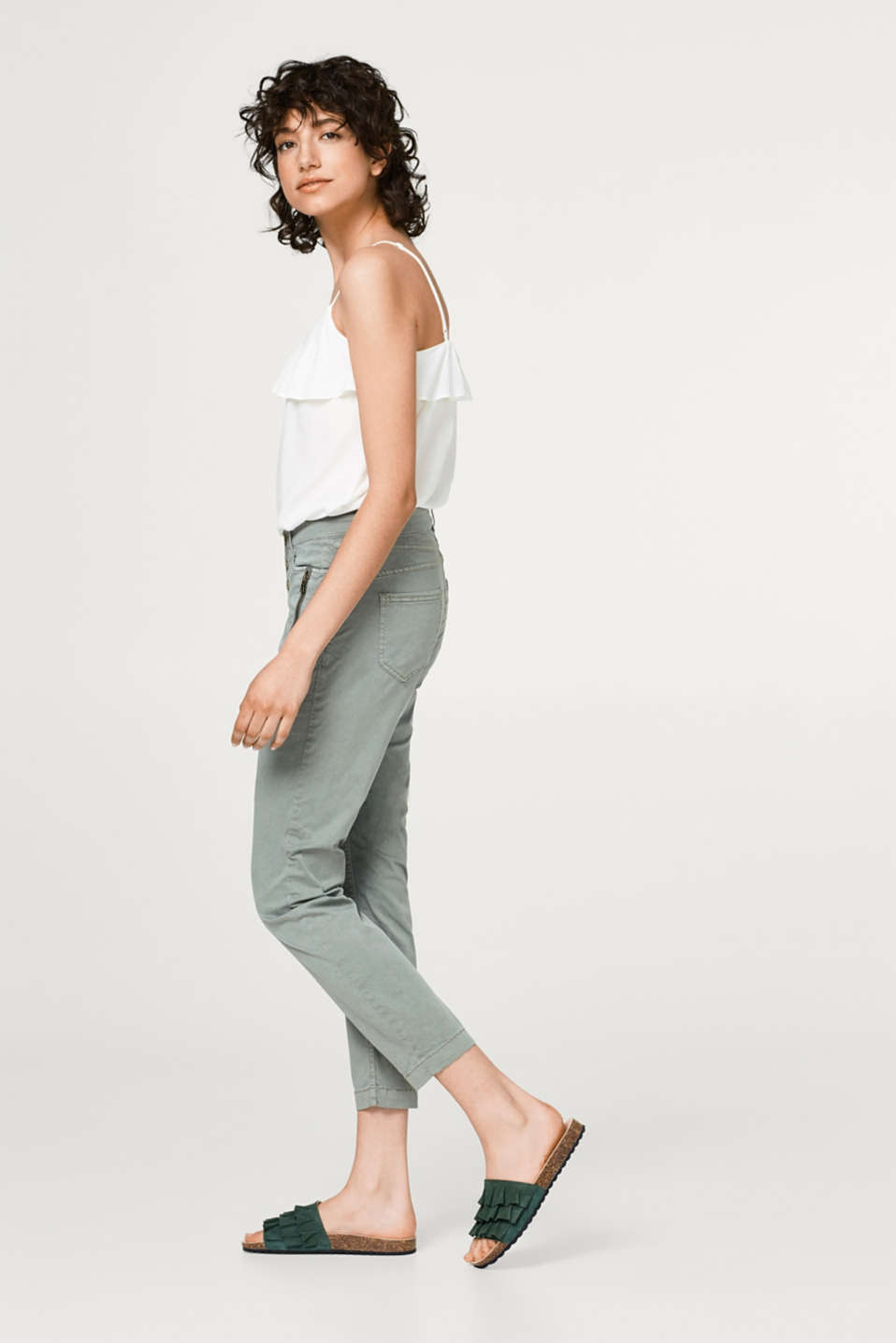 edc - Cropped cotton chinos with button placket