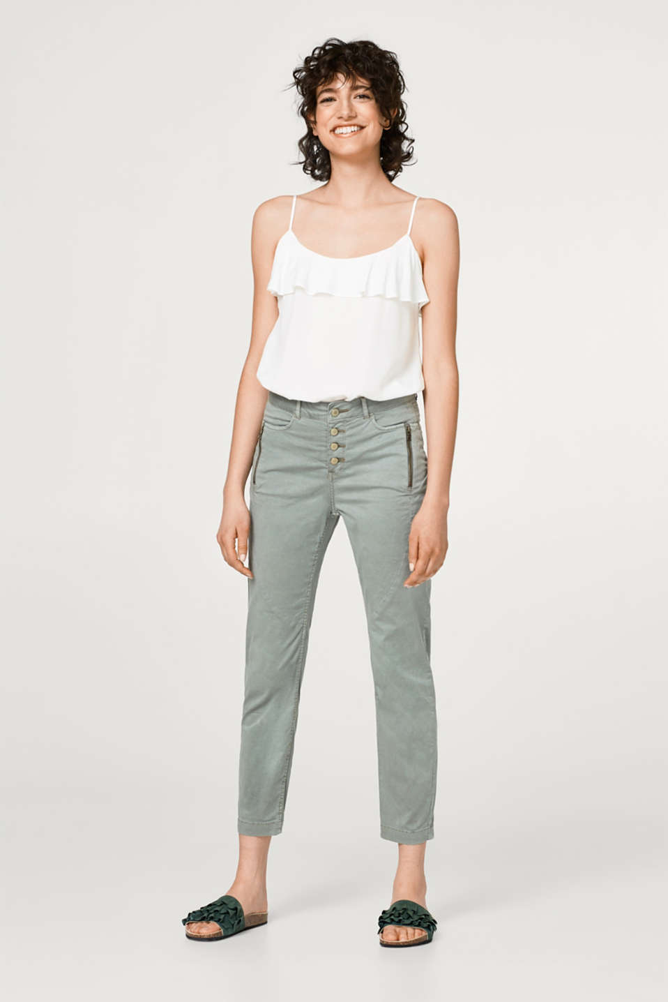 Cropped cotton chinos with button placket