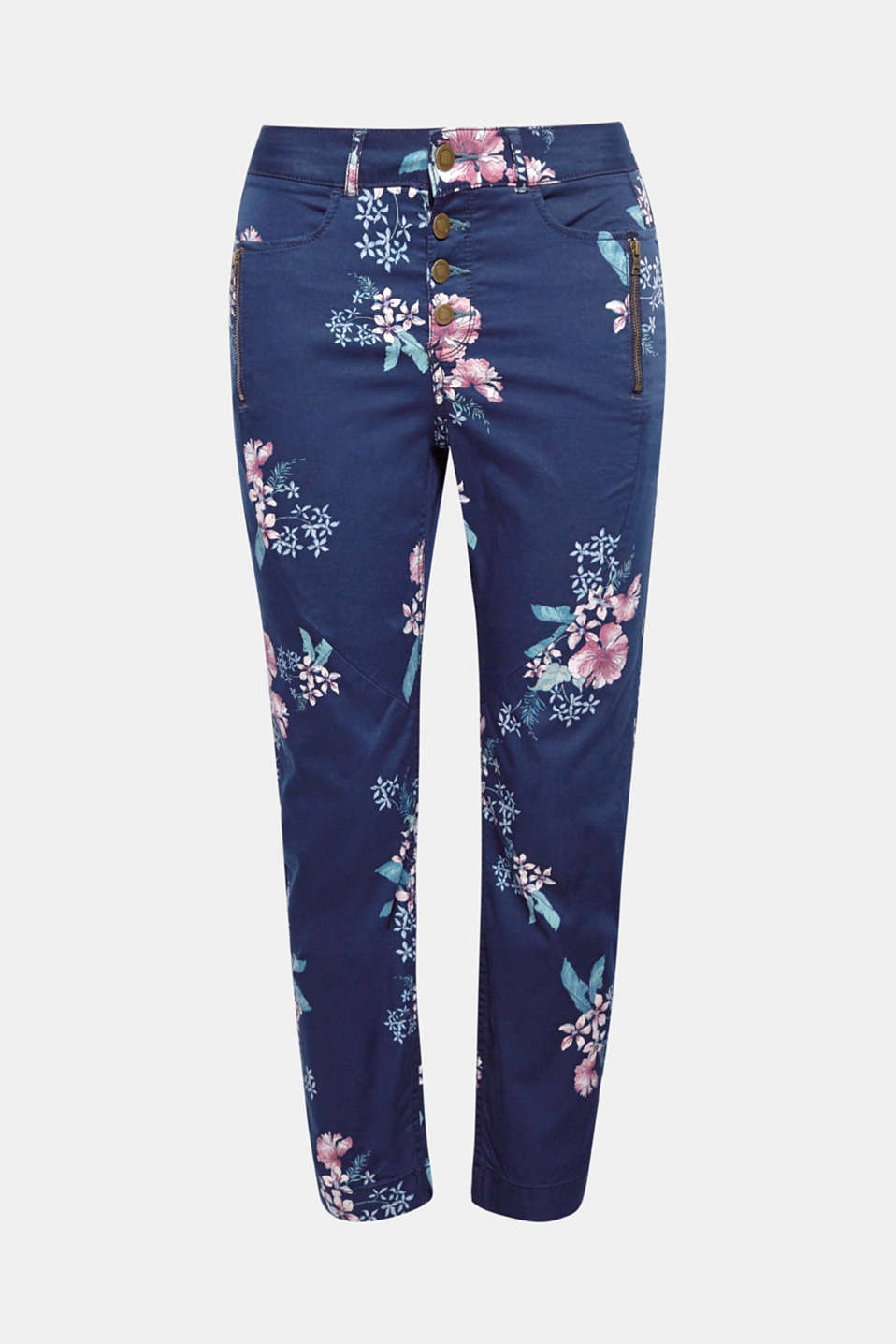 Invite spring into your wardrobe with these ankle-length chinos featuring a romantic floral print, made of cotton with added stretch for comfort.