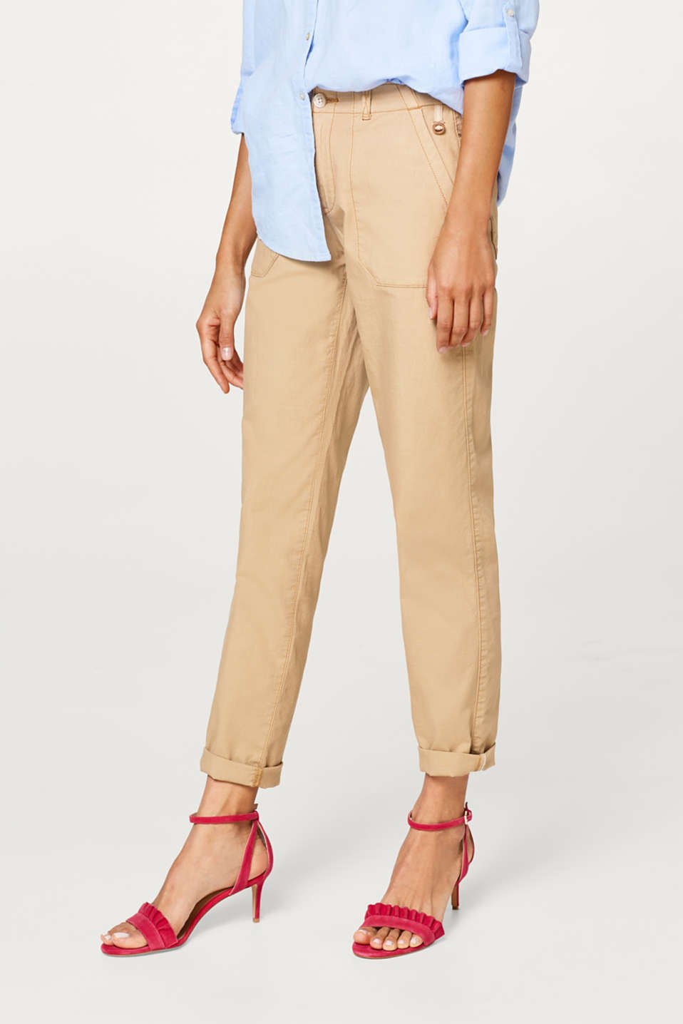 edc - Chinos with patch pockets, 100% cotton