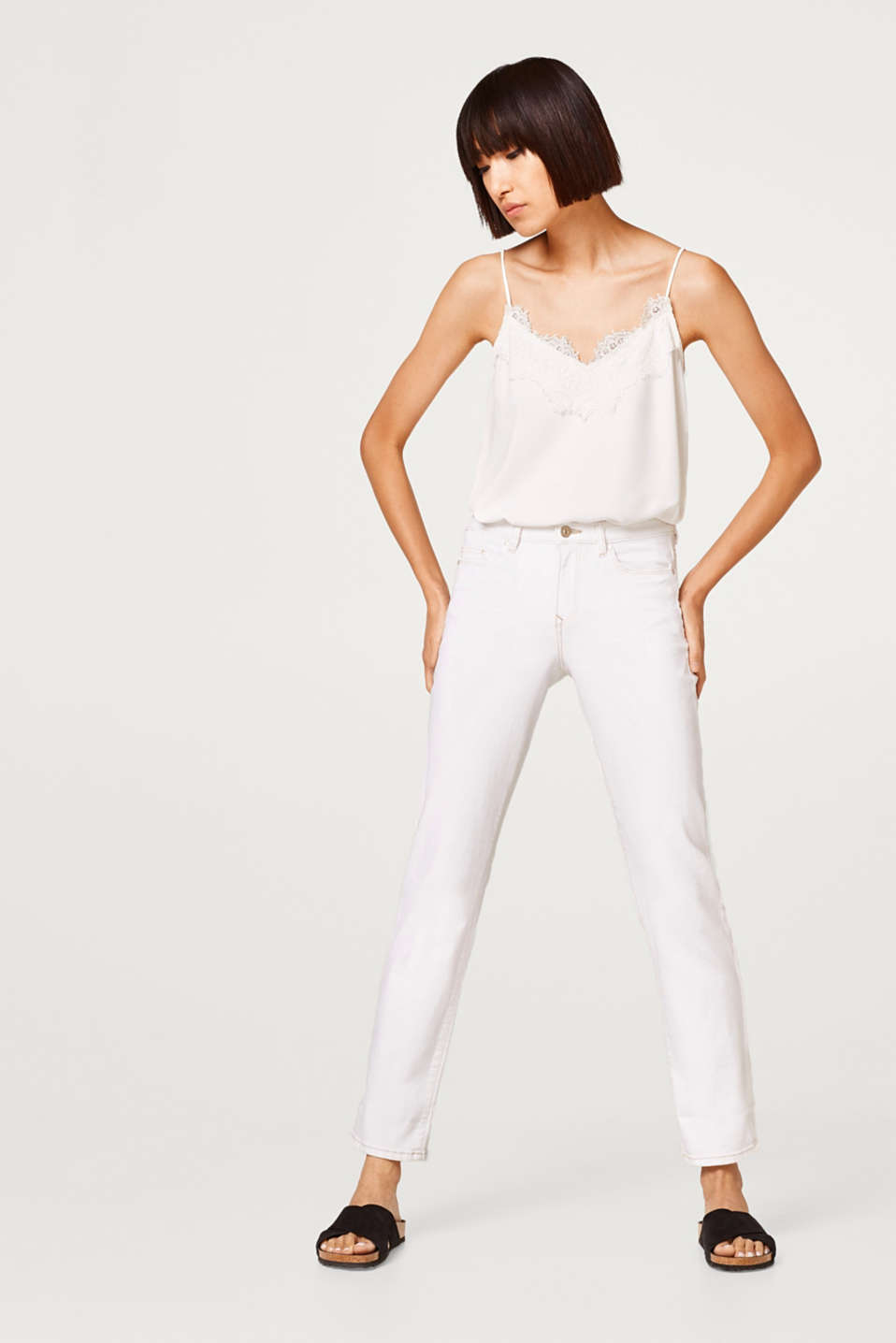 edc - White stretch jeans with contrasting stitching
