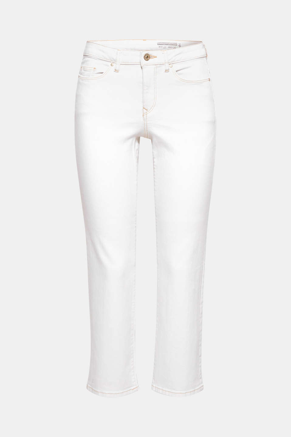 They conjure up a fresh new look whilst being mega comfy at the same time: these extremely stretchy white jeans with beige contrasting stitching.