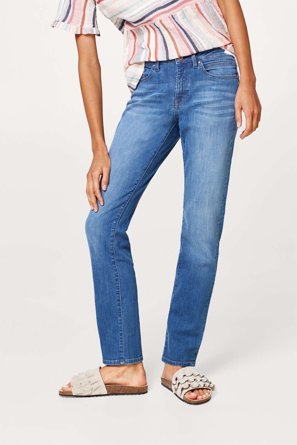 edc - Straight stretch jeans with flap pockets