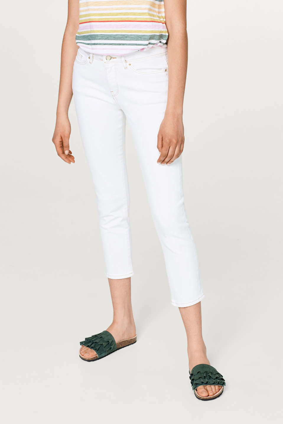 edc - Cropped stretch jeans with contrasting stitching
