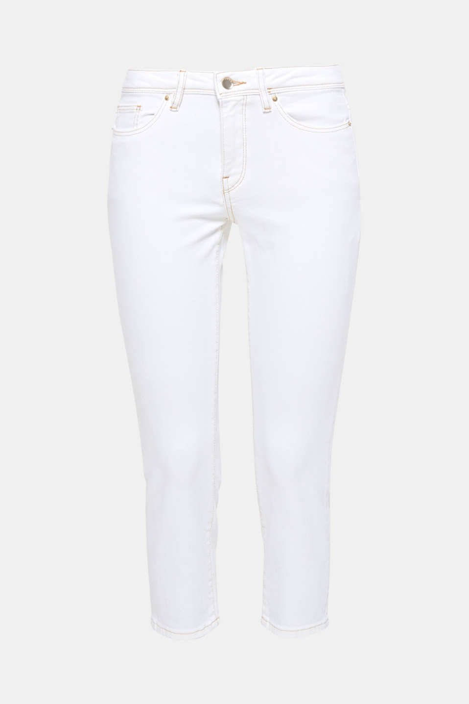 They instantly conjure up a fresh new look and are mega comfy at the same time: these white, ankle-length jeans with beige contrasting stitching and added stretch for comfort.