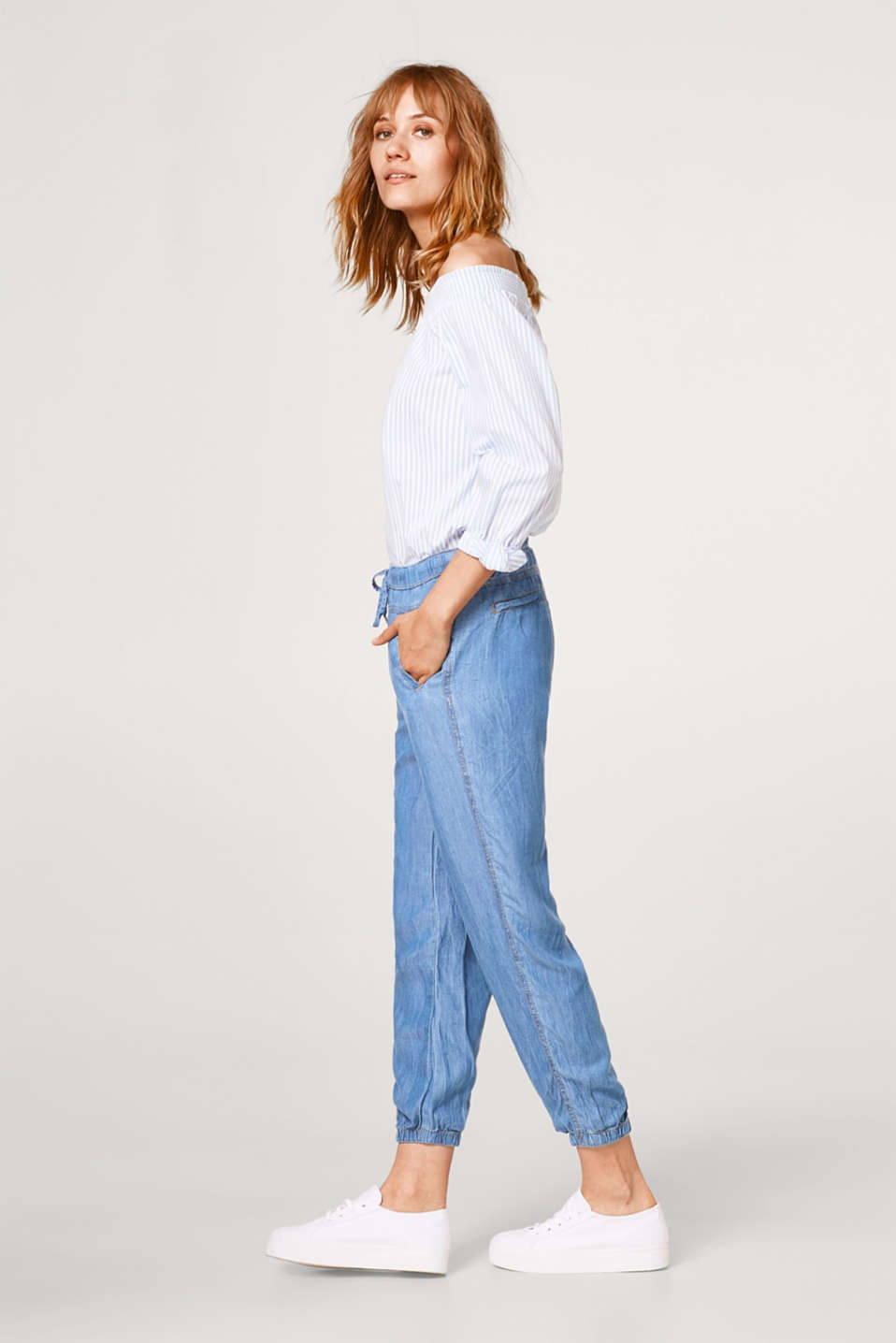 Tracksuit bottoms in a lightweight denim look