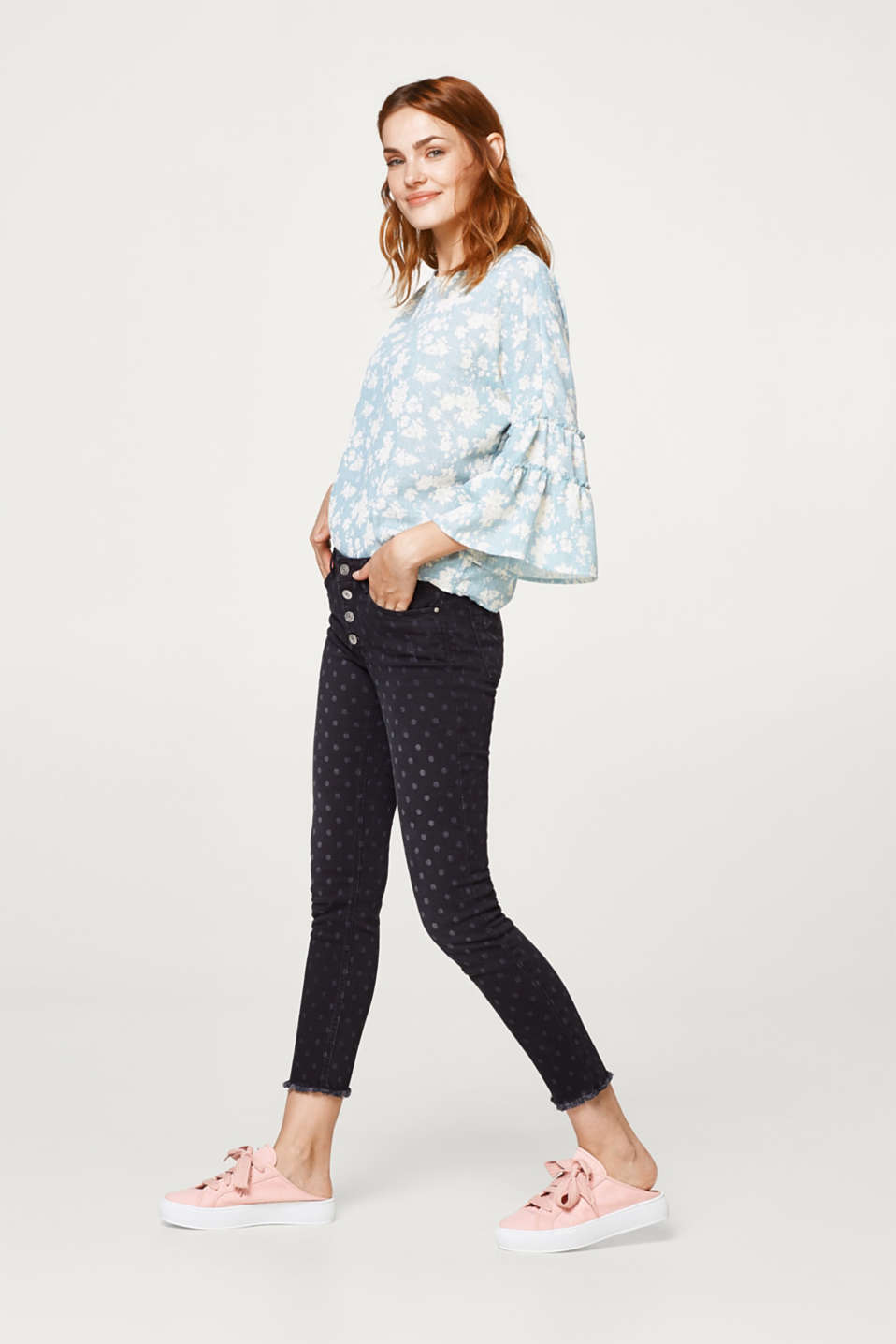 edc - Cotton jeans with a polka dot pattern