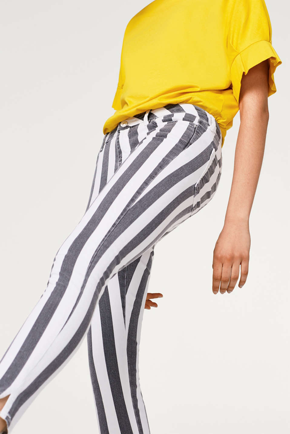 edc - Cropped, striped stretch jeans