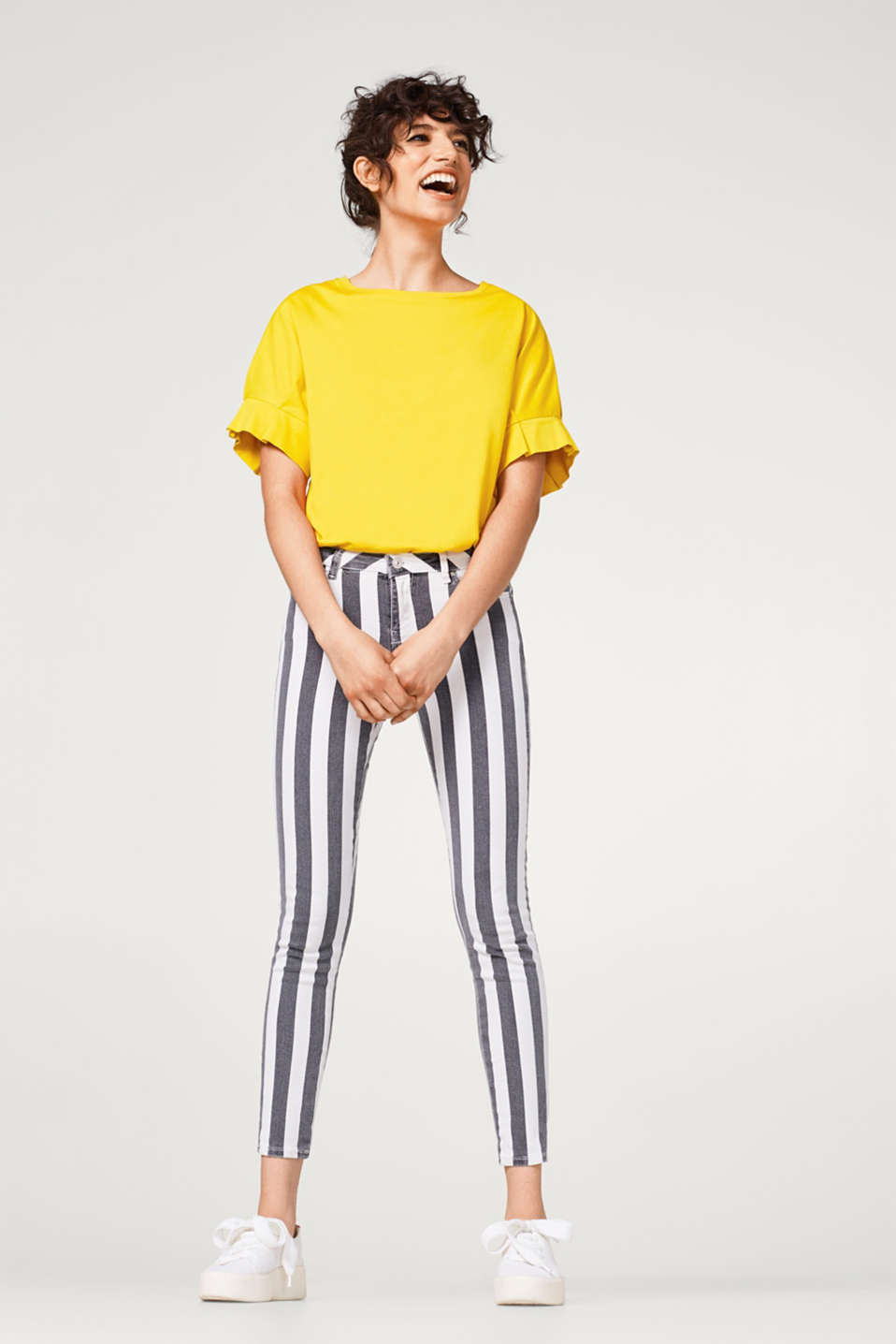 Cropped, striped stretch jeans
