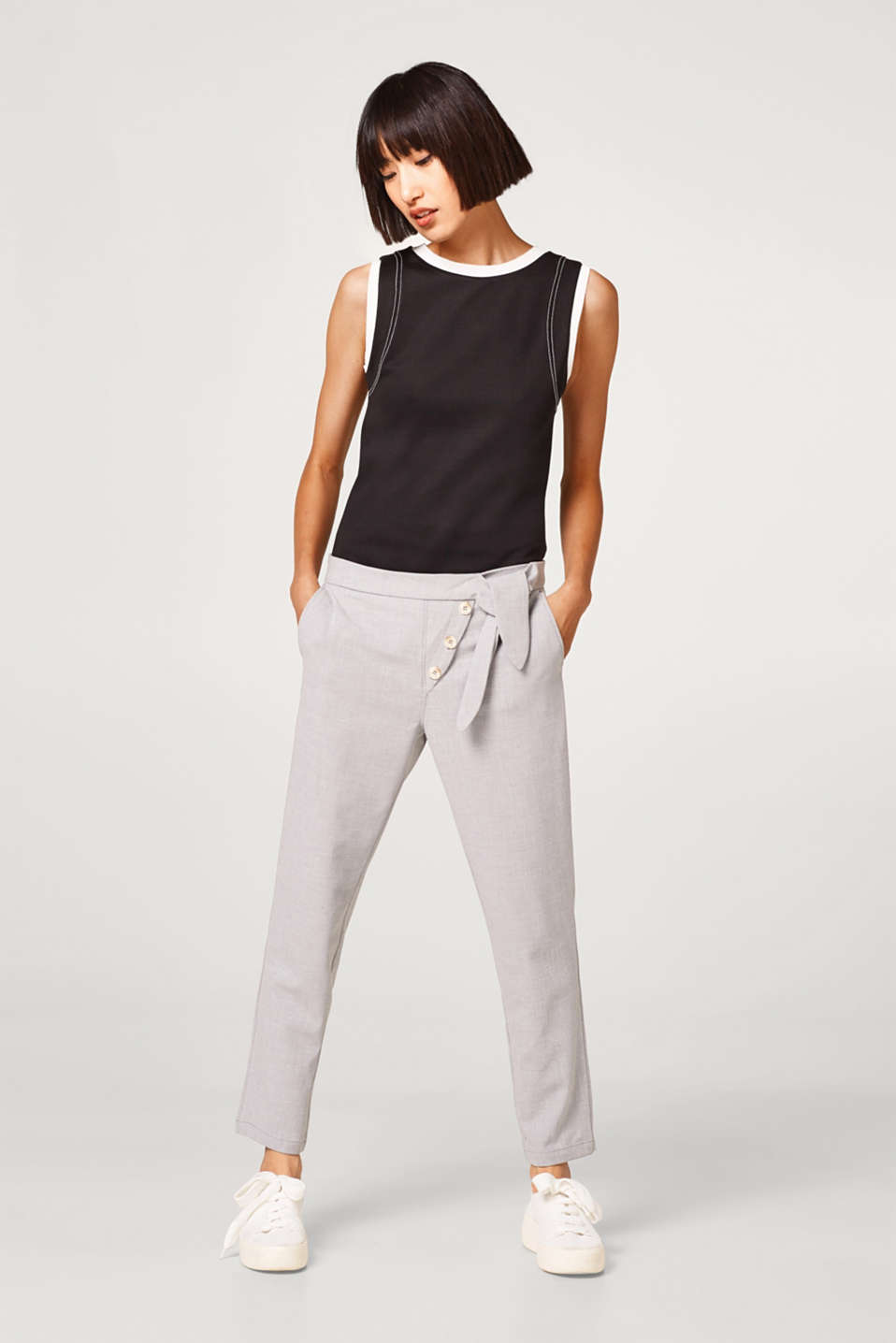 edc - Crêpe trousers with a button placket and knot detail