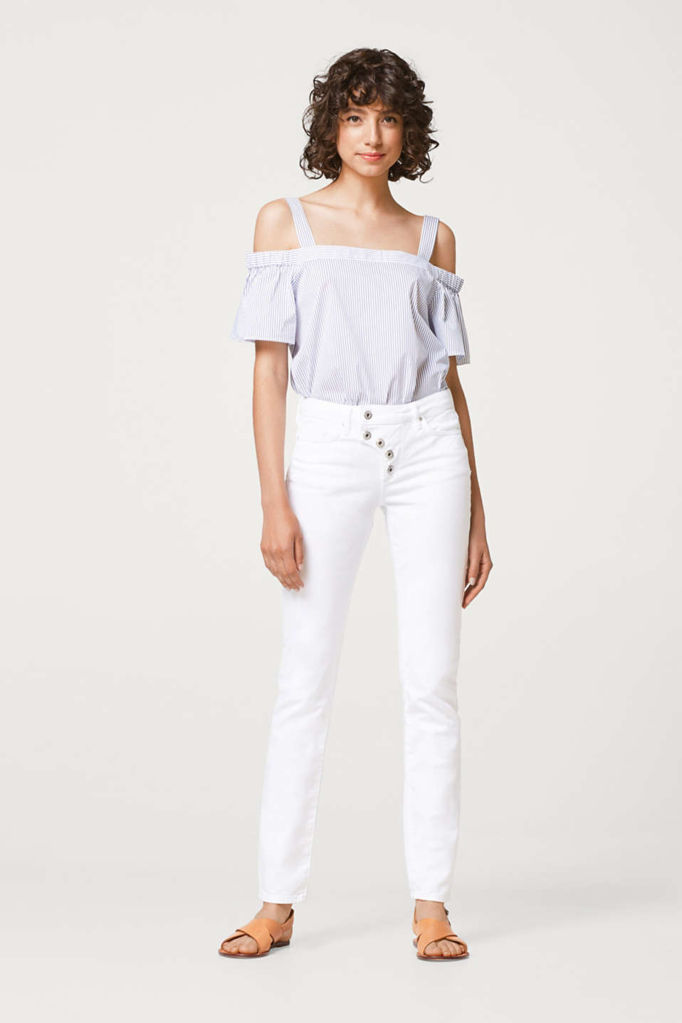 Stretch jeans with a distinctive button placket