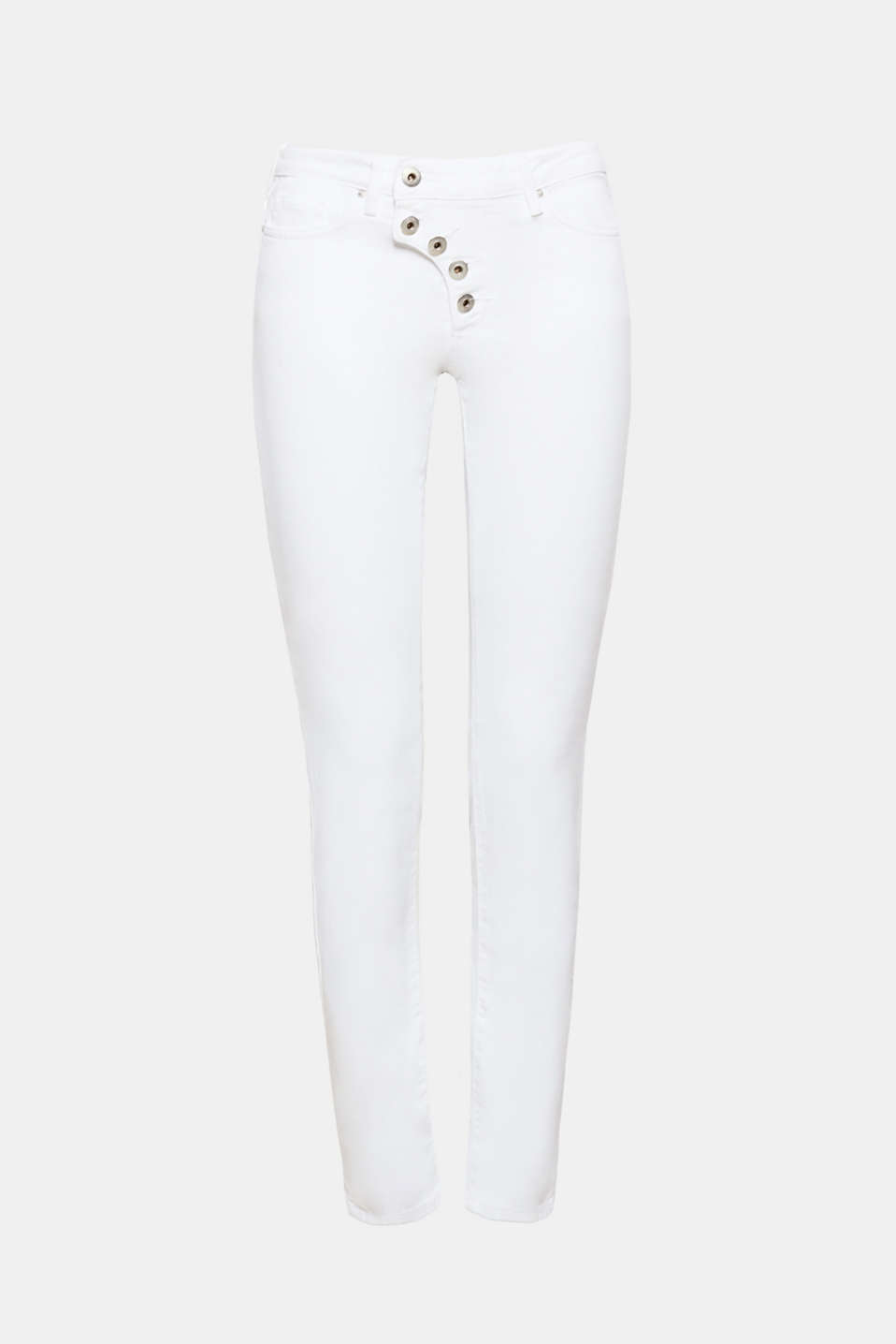 We love white denim! The clean dye effect and distinctive button placket give these white five-pocket jeans their trendy look.