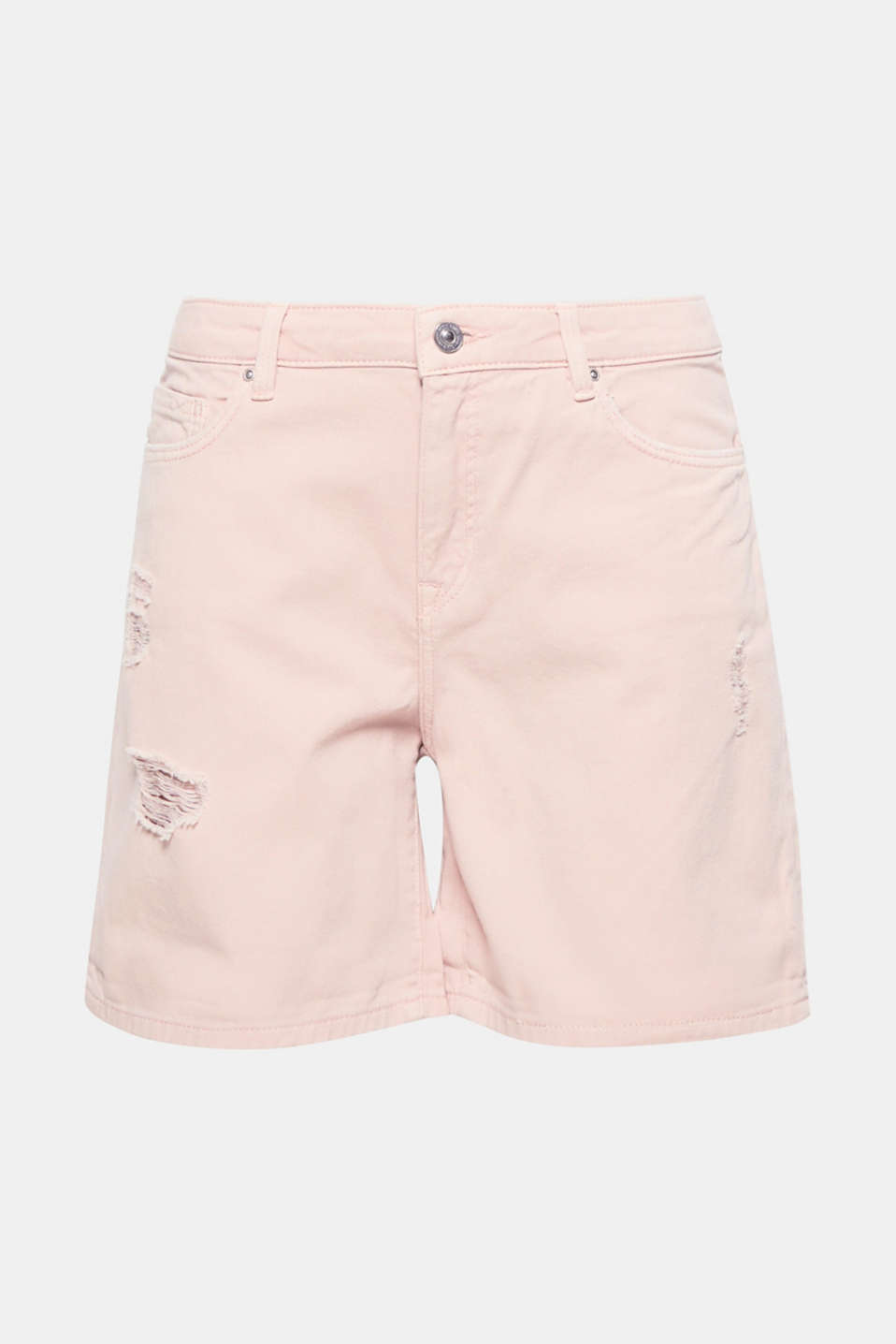 Deze luchtige short van destroyed katoenen denim is perfect om comfortabel en casual de warme dagen door te komen!