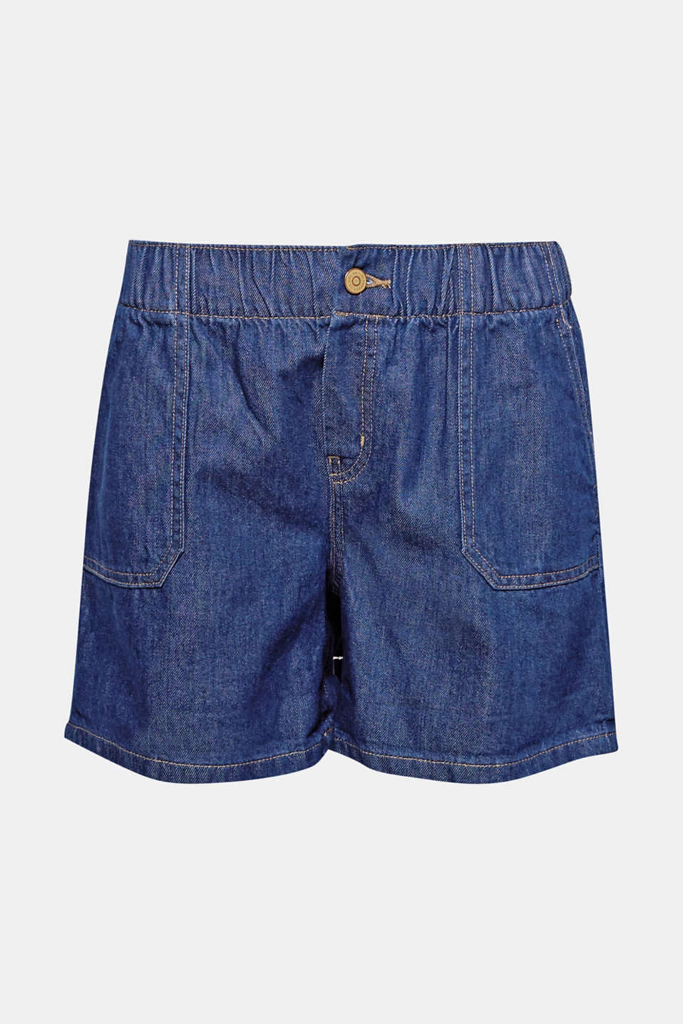 Dein absolutes Must-Have-Basic für den Summer: Denim-Short aus weicher Bio-Baumwolle mit Gummizugbund.