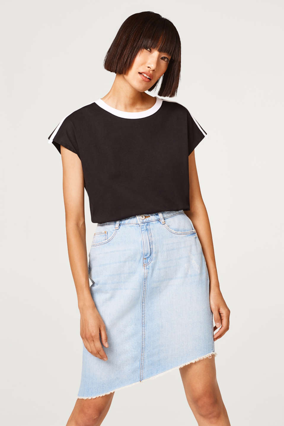 edc - Asymmetric denim skirt in 100% cotton
