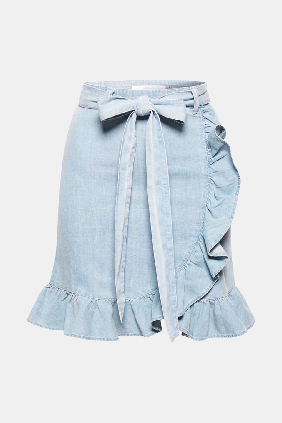 This lightweight denim skirt gets its feminine flair from its wrap-over look with beautiful flounces.