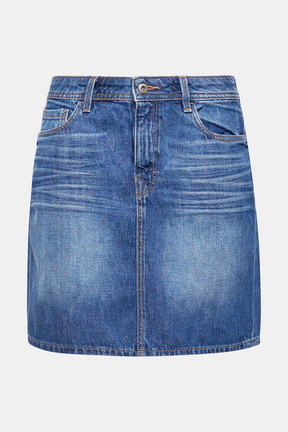 A classic made of recycled cotton: denim skirt in pure cotton with casual washed-out effects.