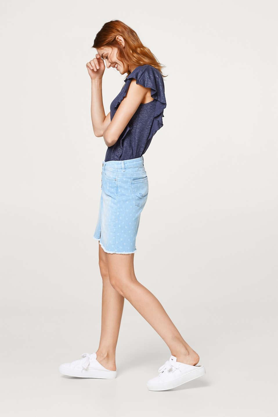 edc - Stretch denim skirt+polka dot pattern