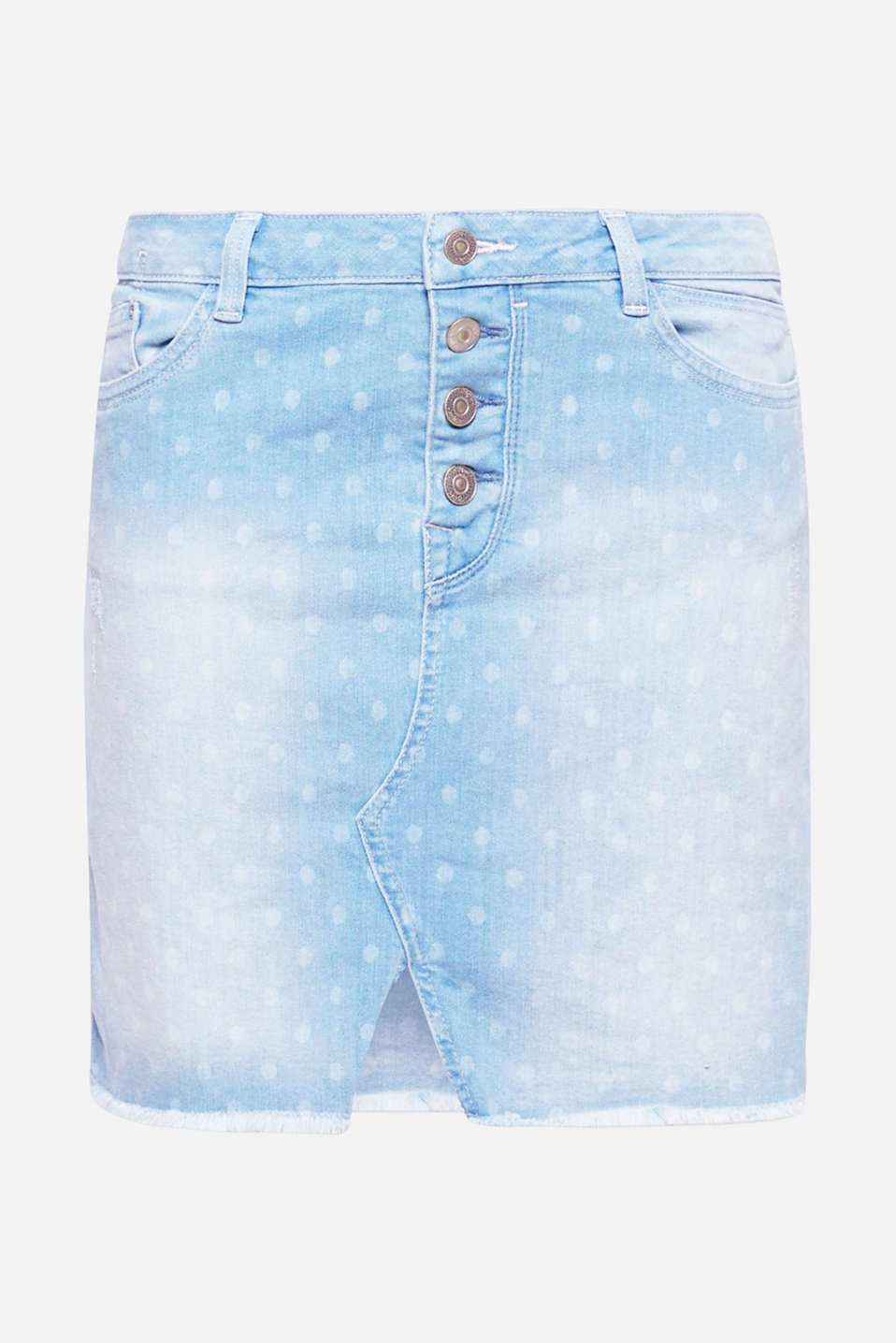 Frayed hems, a polka dot pattern and striking button placket: this denim skirt creates very clear, fashionable accents.