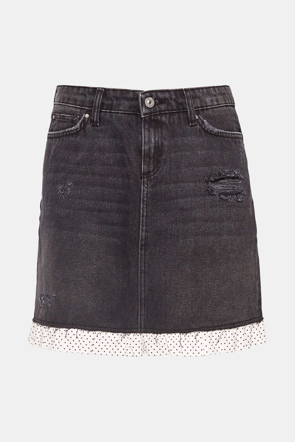 We love denim! This mini skirt in a distressed look stands out with its pretty polka dot frill trim.