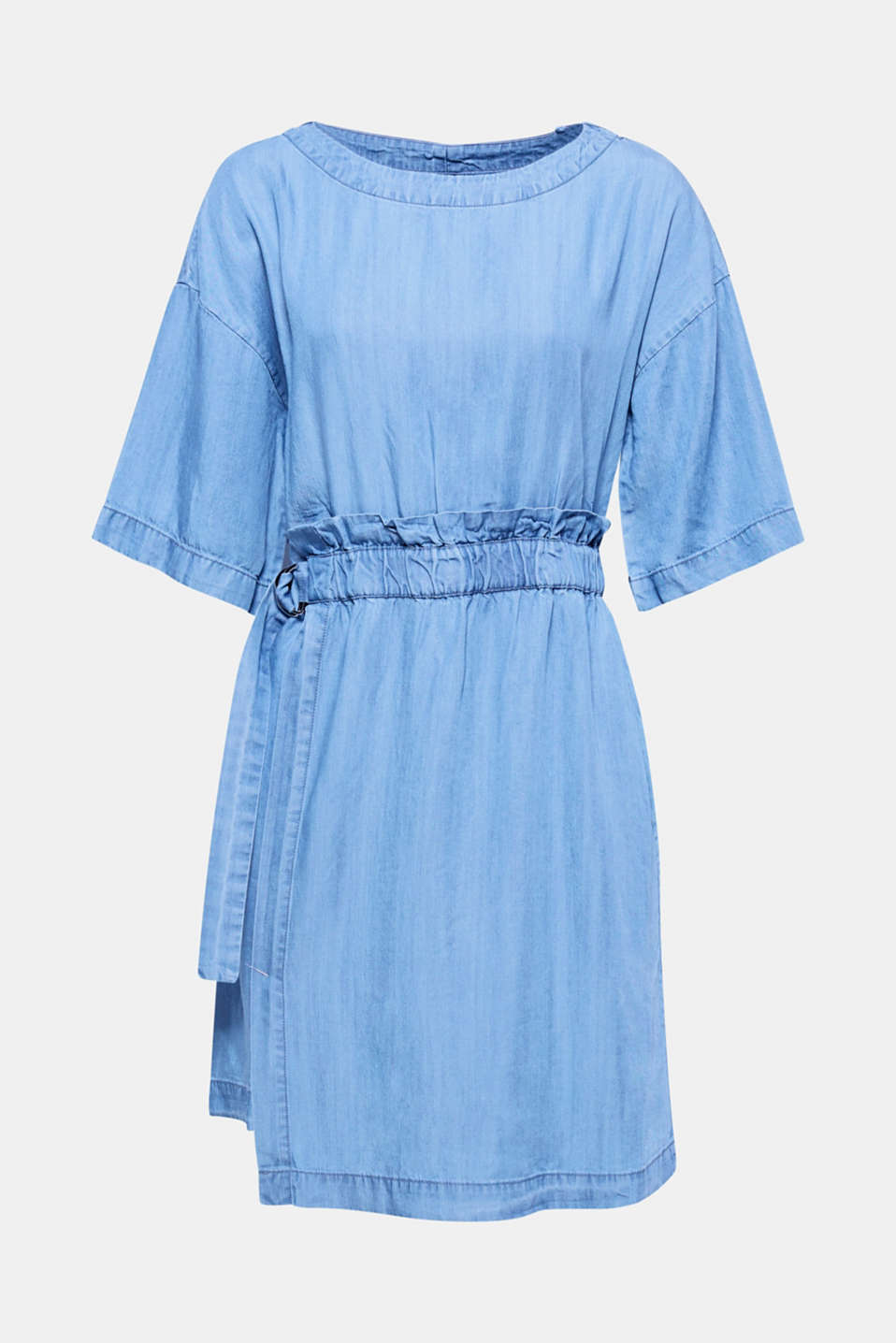 This softly draped dress made of denim-effect lyocell features an eye-catching waist in a trendy paperbag style – gathered and with decorative clasps on the sides!