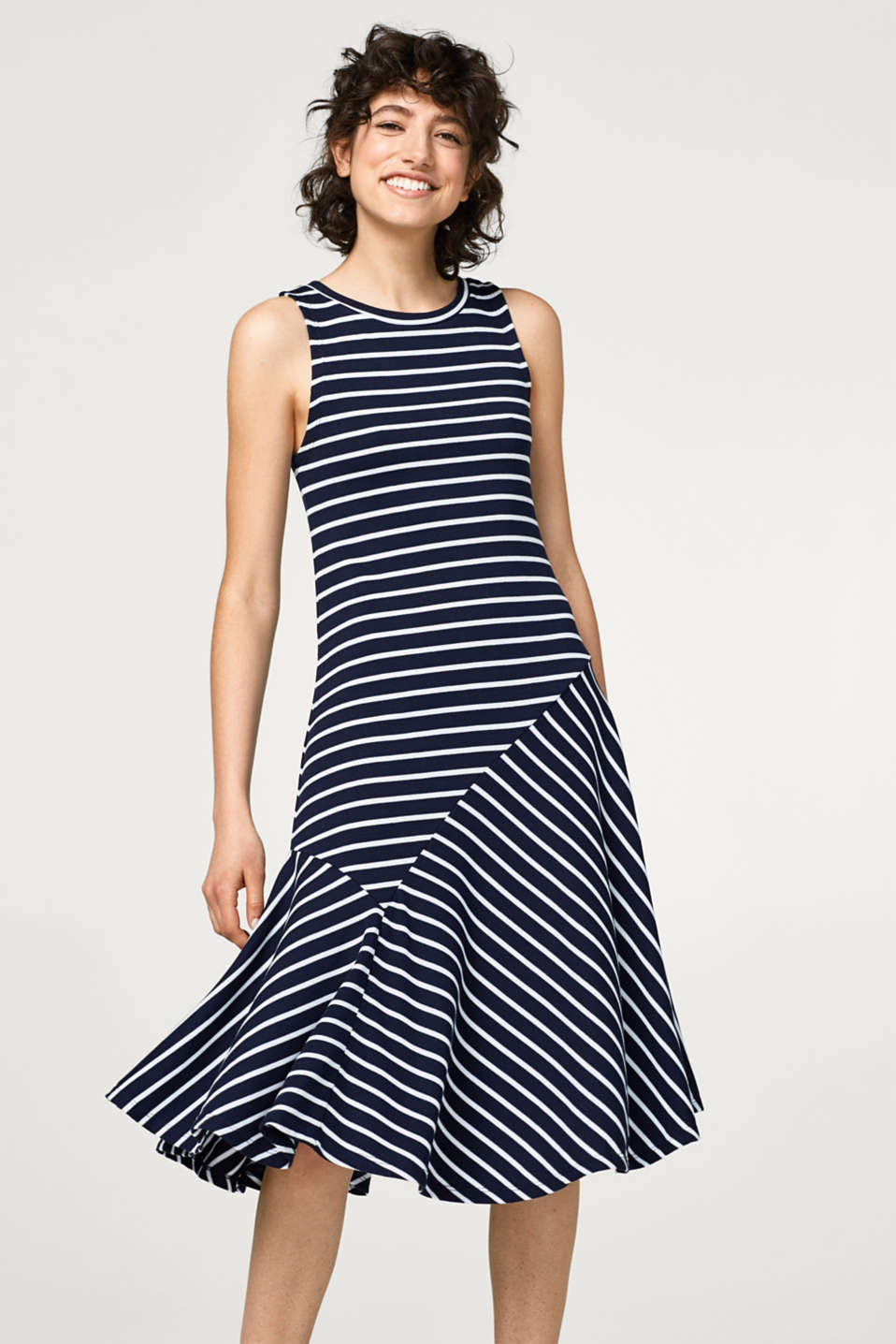 edc - Swirling midi dress in ribbed jersey