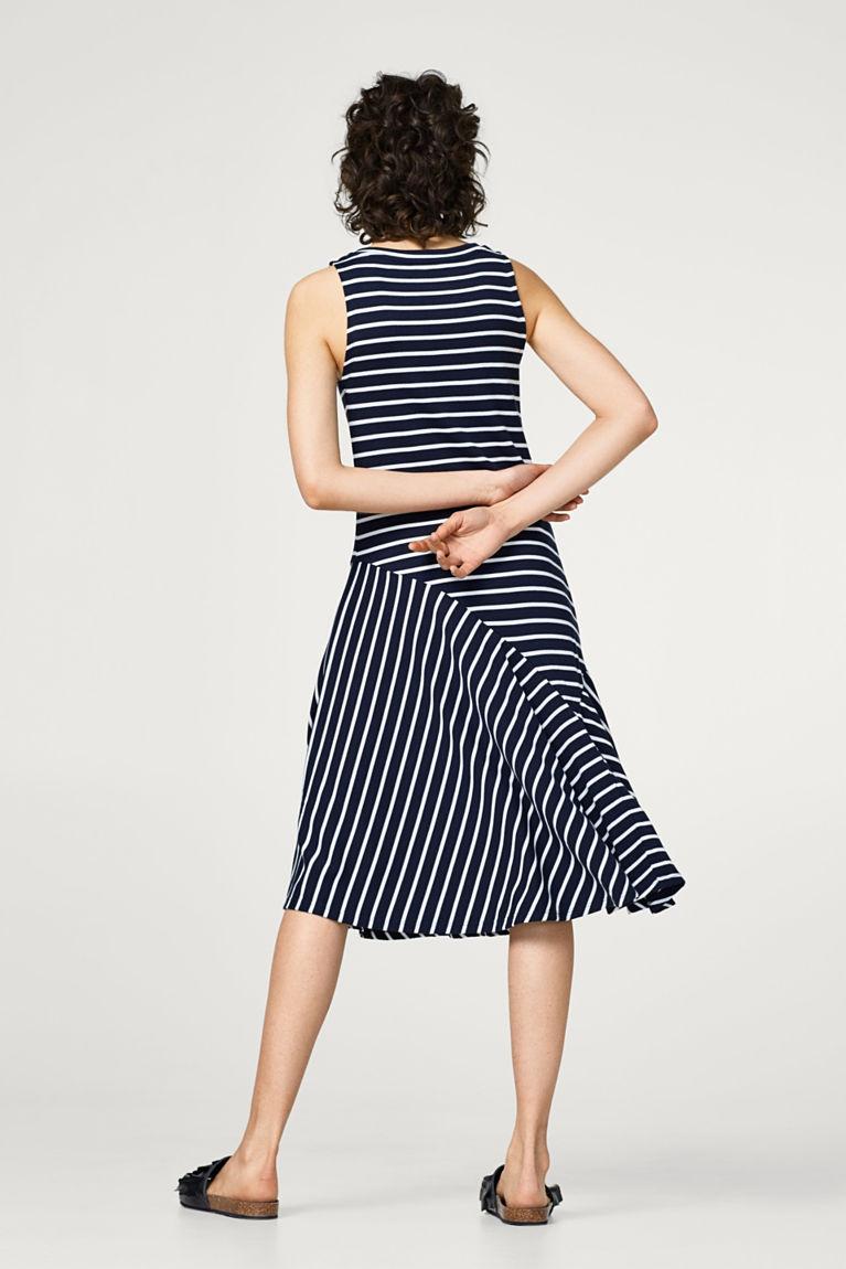 Schwingendes Midi-Kleid aus Ripp-Jersey