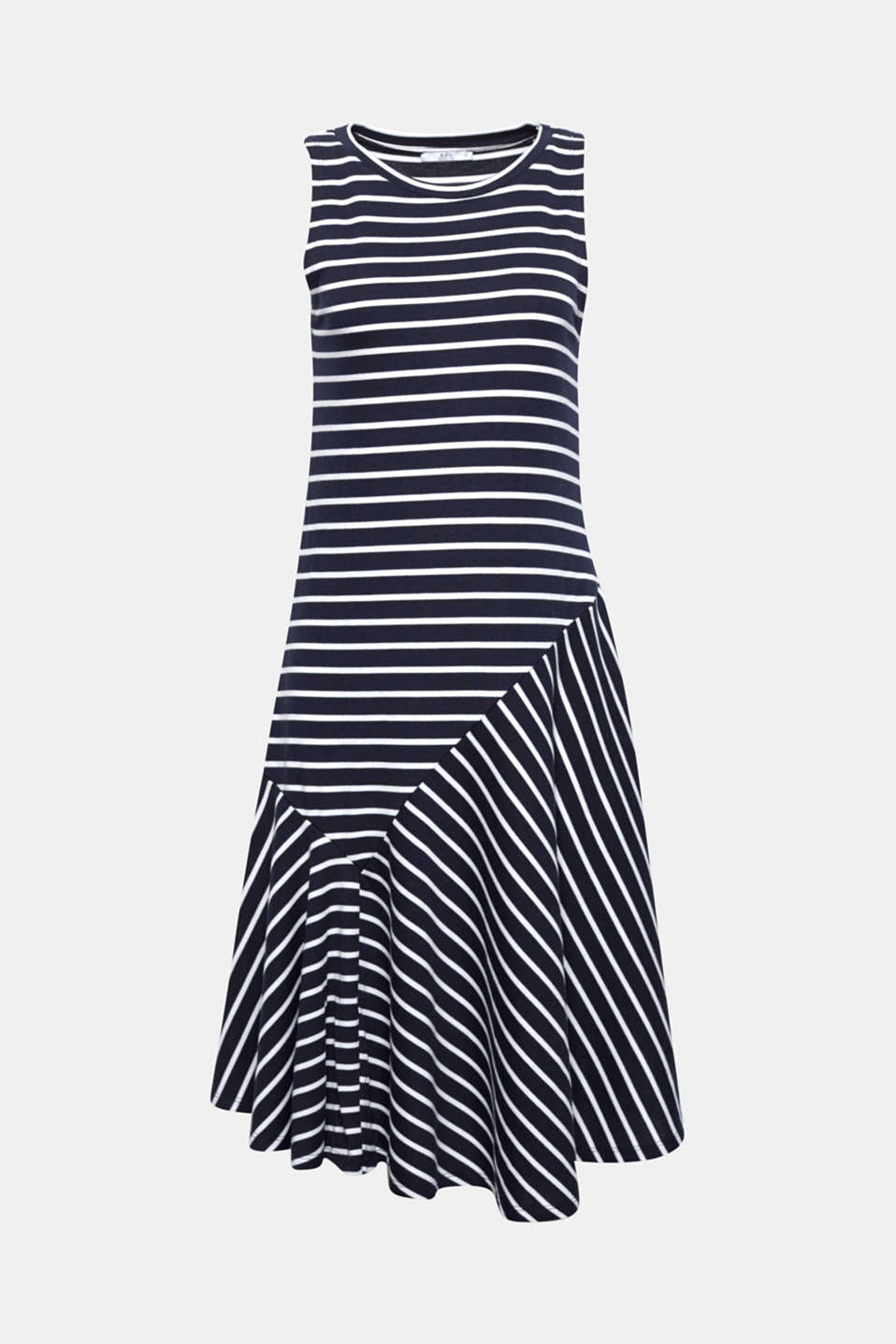 This nautical, striped ribbed jersey dress with a flared flounce hem is the perfect all-rounder for summery daytime looks.