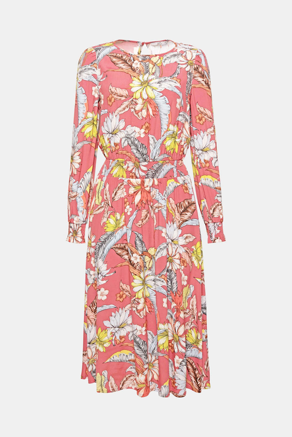 Feminine flowers: the stunning all-over print gives this softly draped, smock detail dress in a fashionable midi length additional charm!
