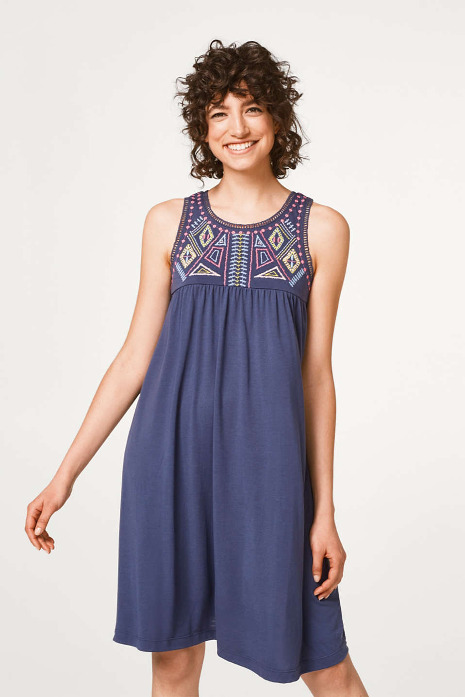 edc - Flared jersey dress with embroidery
