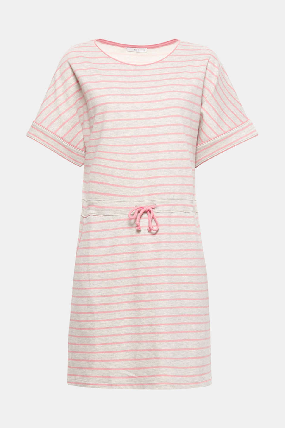 Combines high comfort with casual style: this sweatshirt dress with an adjustable drawstring waist and a fresh striped pattern.
