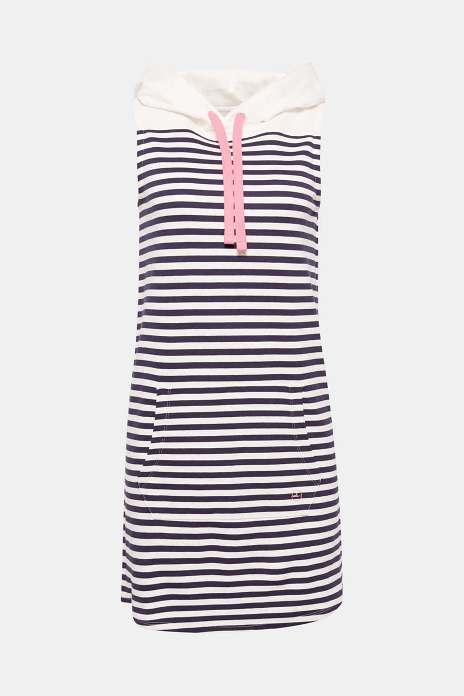 This sleeveless hoodie dress made of nautical striped cotton sweatshirt fabric is super comfortable and fresh.