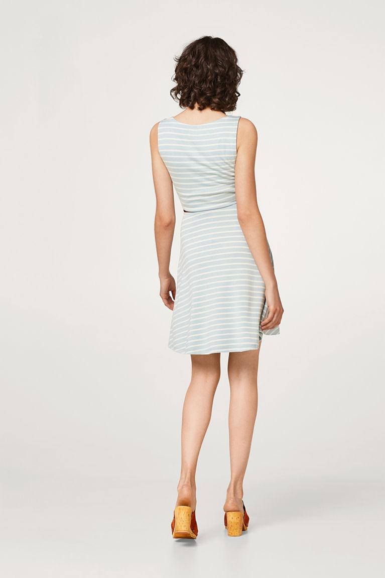 Gestreiftes Jersey-Kleid mit Gürtel