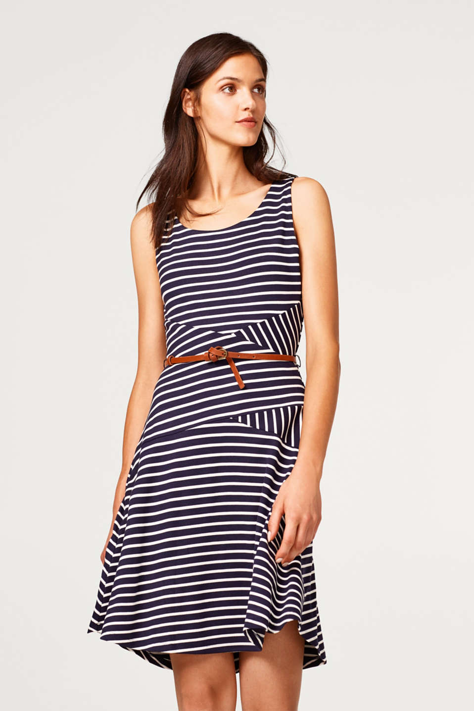 edc - Striped jersey dress with a belt