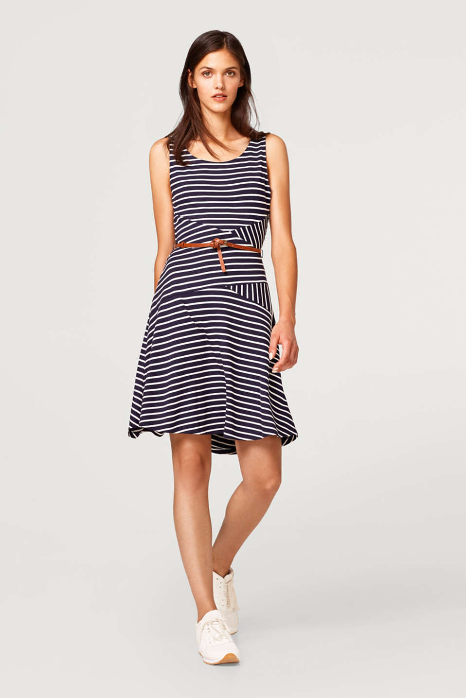 Striped jersey dress with a belt