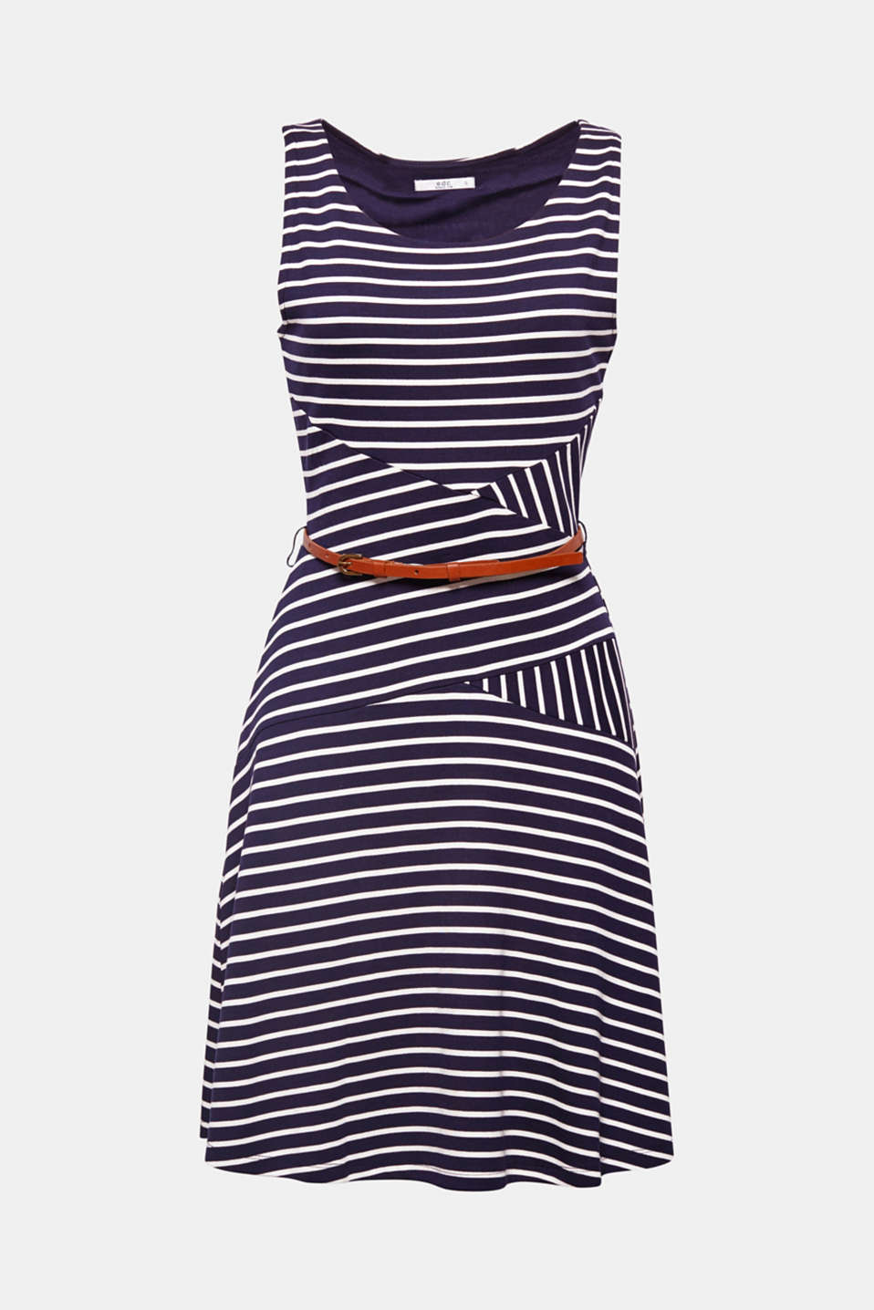 Summer styles can be so beautiful: This softly draped jersey dress with an accentuating belt is flirty and feminine.