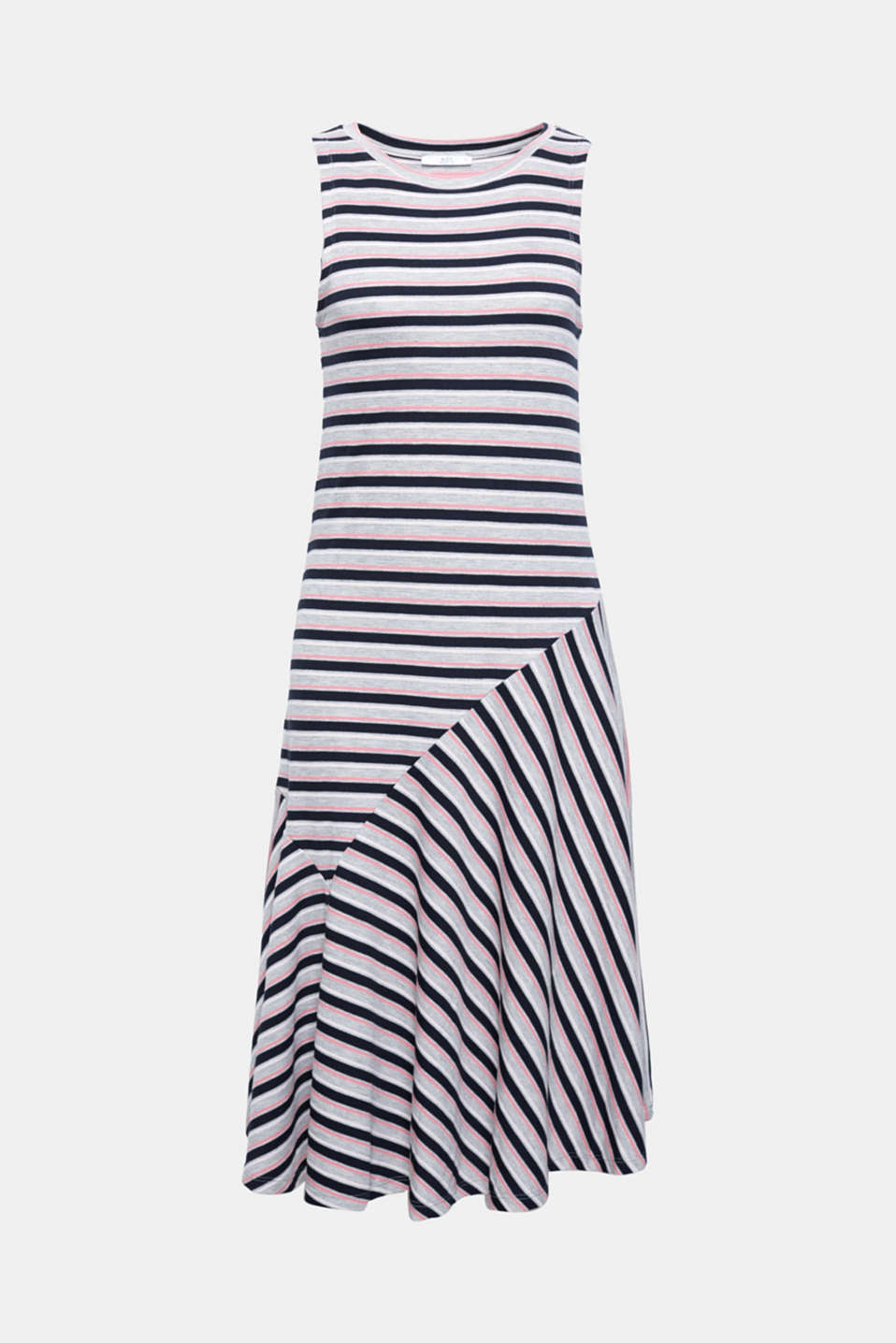 This pretty, striped ribbed jersey dress with a flared flounce hem is the perfect all-rounder for summery daytime looks.