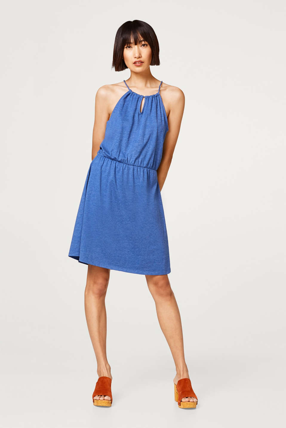 Dress with cut-away shoulders