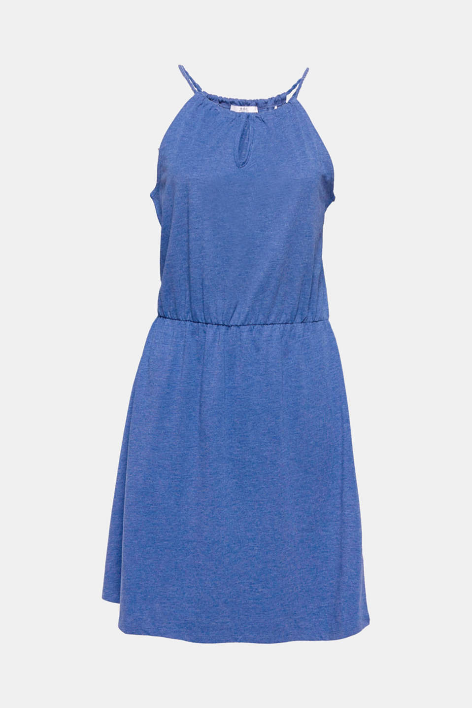 Perfect for holidays and leisure time: airy summer dress made of blended cotton with cut-away shoulders.