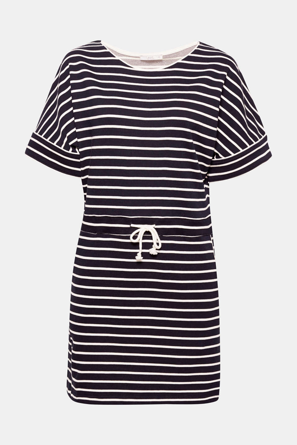 This cotton sweatshirt dress with an adjustable drawstring waist and a fresh striped pattern combines high comfort with relaxed style.