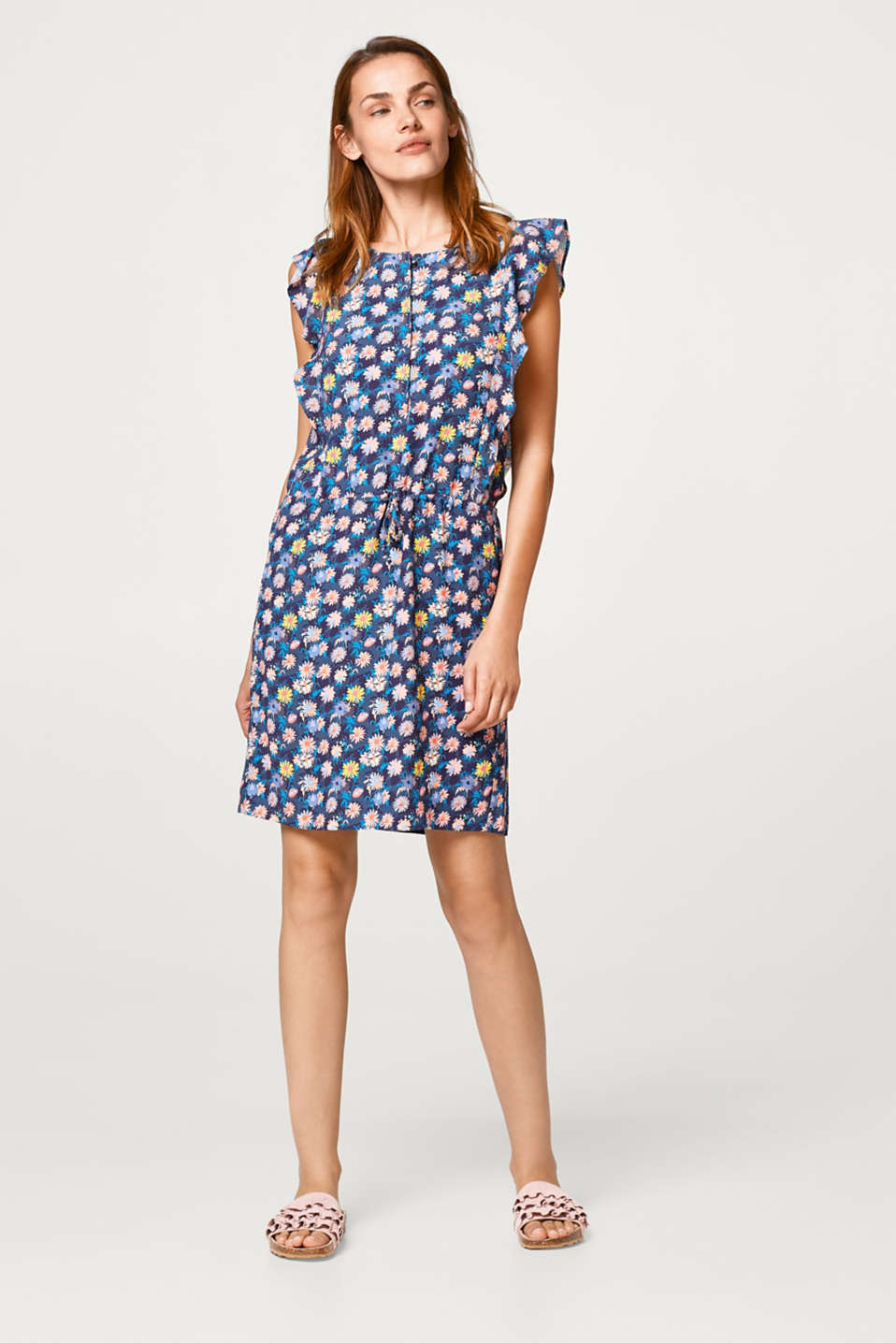 Lightweight, floral crêpe dress with flounces