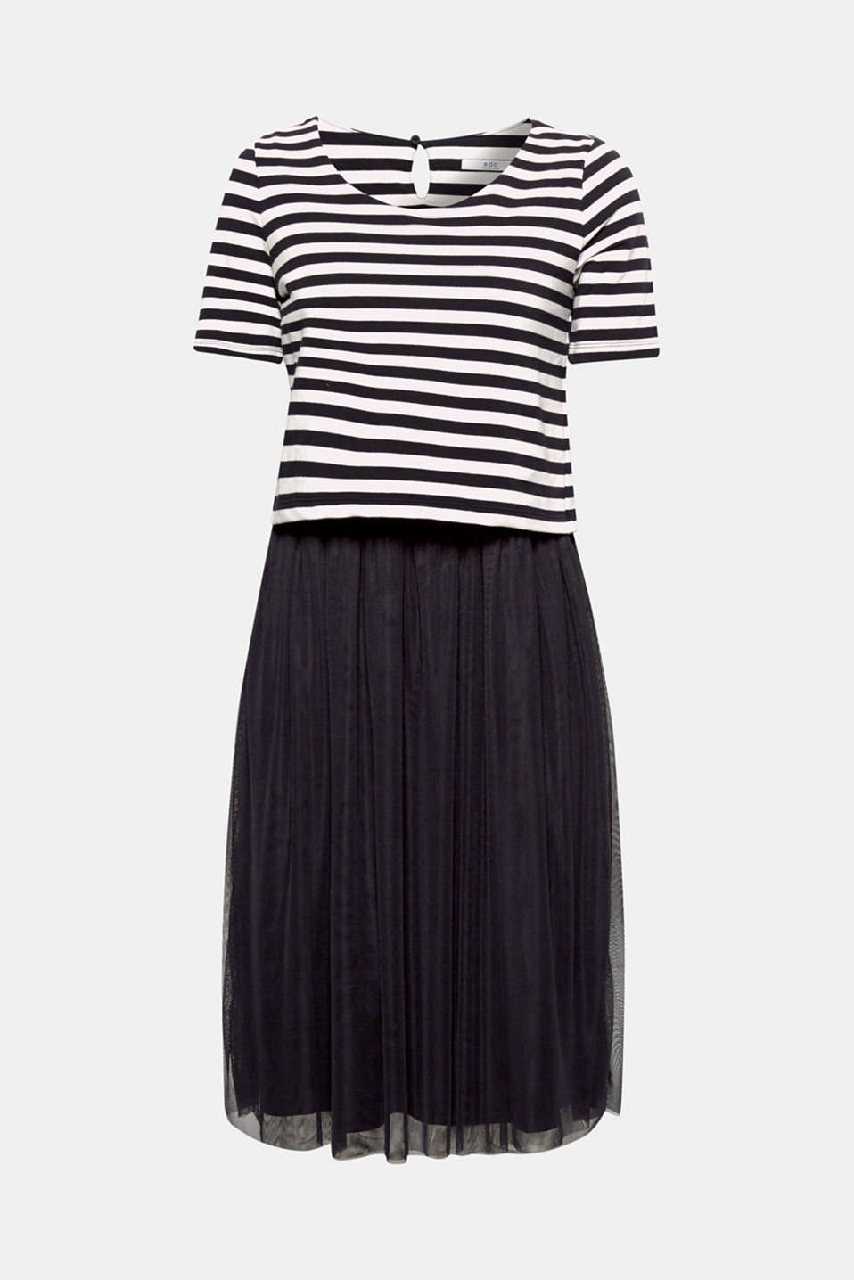 2-in-1: A striped sweatshirt top combined with an airy mesh skirt - this dress stands out thanks to its exciting material mix look!