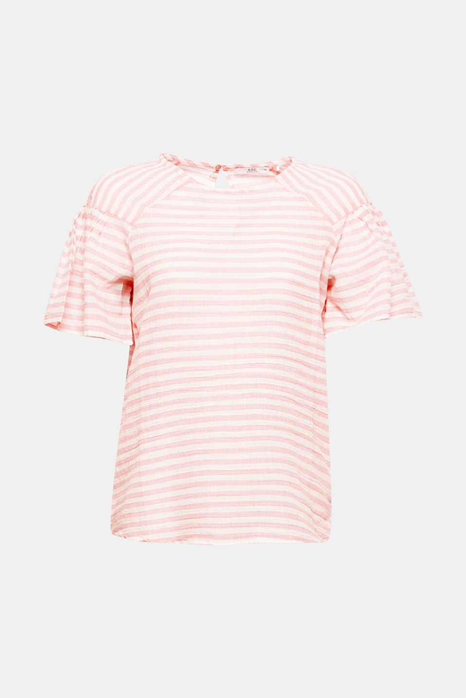 Lightweight material, light and airy look: With a fresh striped pattern and flounce sleeves, this delicate, slightly sheer blouse is perfect for warmer weather!