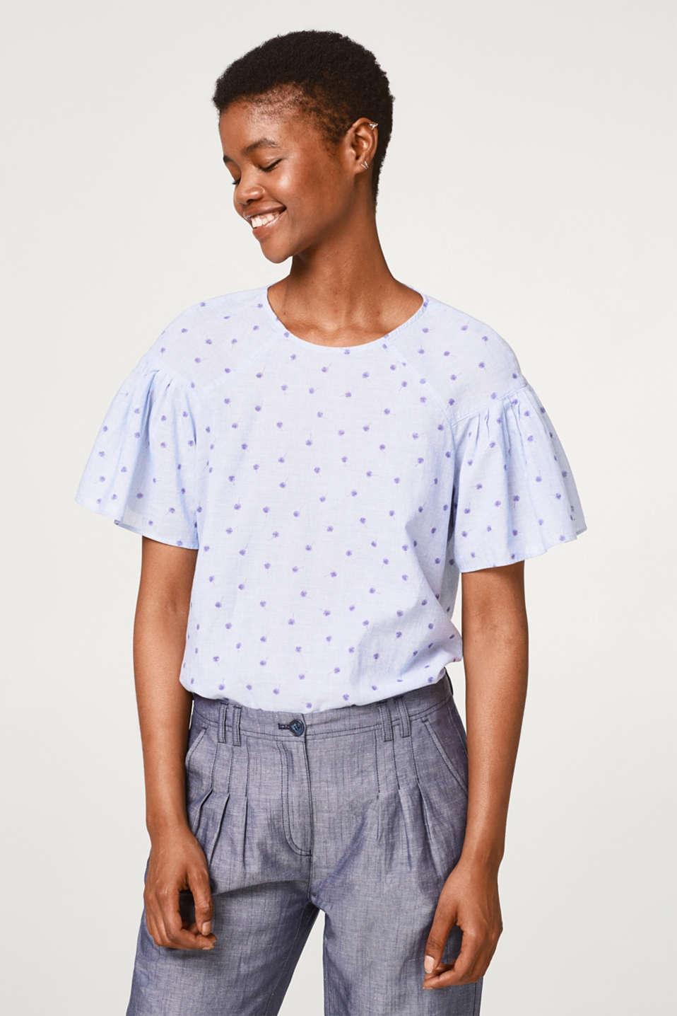 edc - Lightweight print blouse with organic cotton