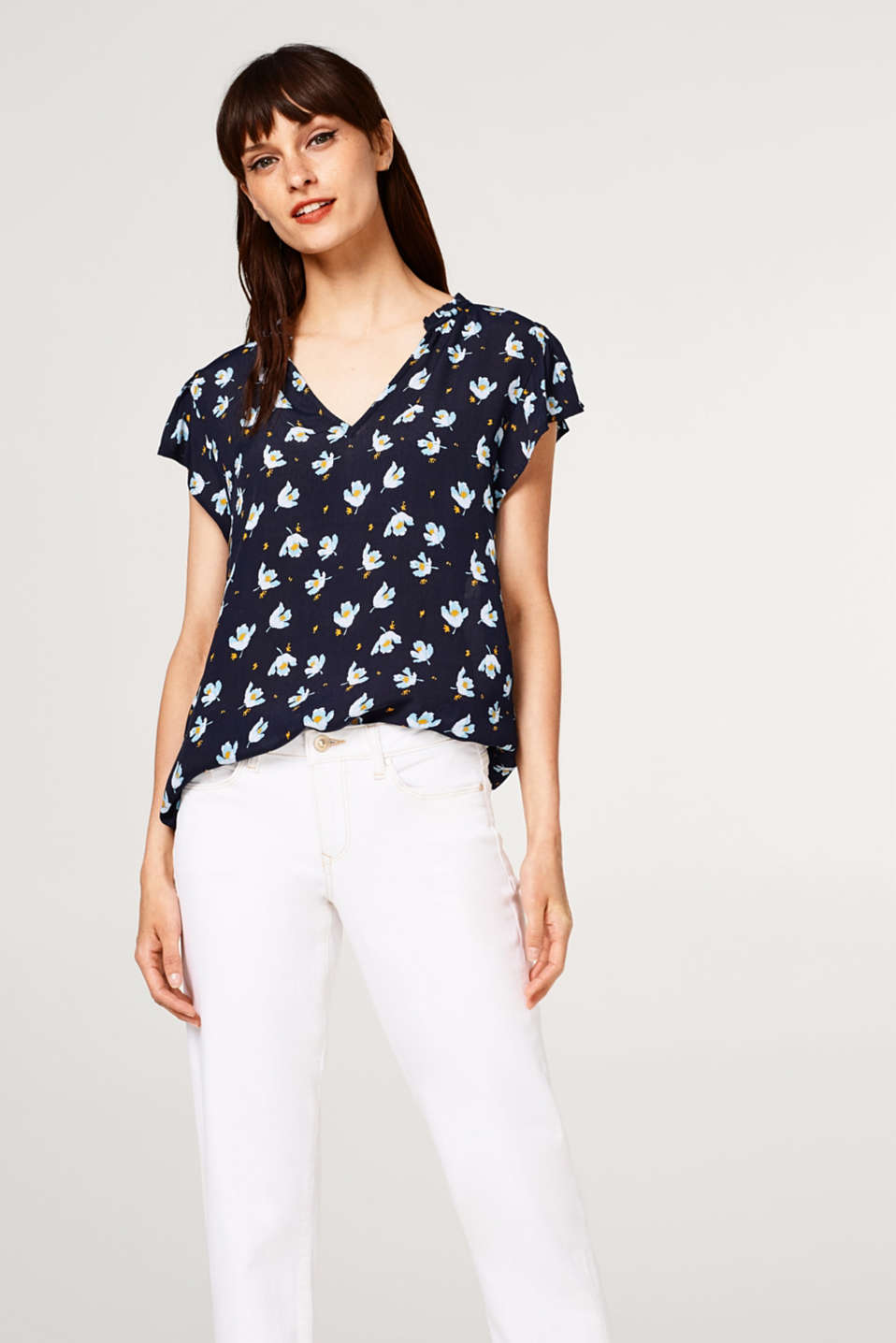 edc - Floral blouse top in crêpe with wing sleeves