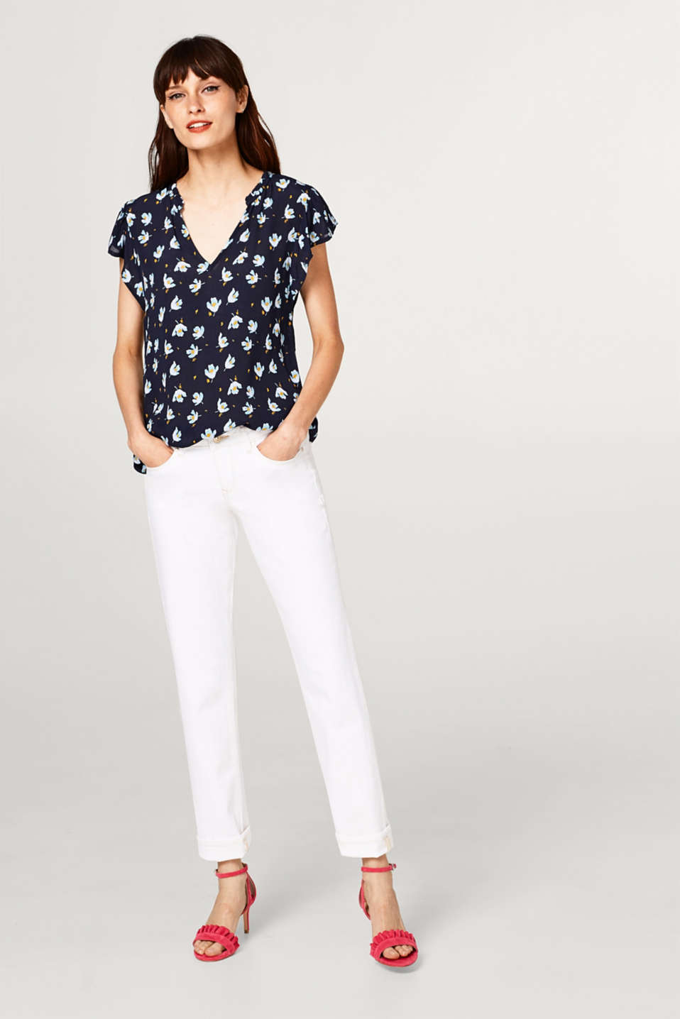 Floral blouse top in crêpe with wing sleeves