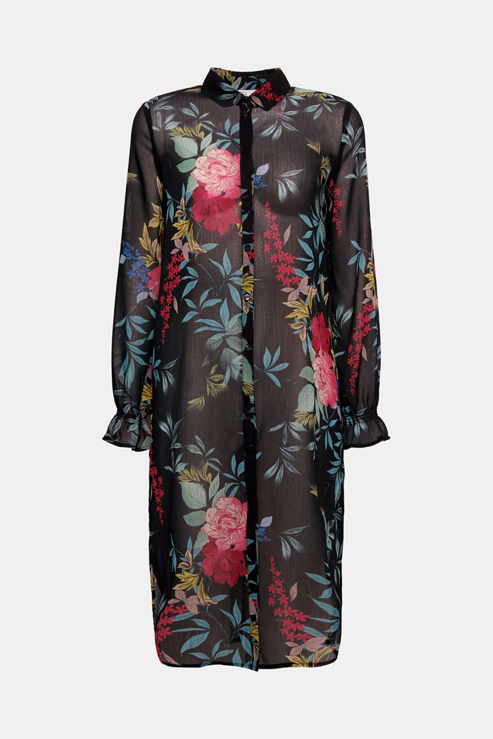 This long chiffon blouse with an all-over, floral pattern adds a fantastic finishing touch to summery, layered looks.
