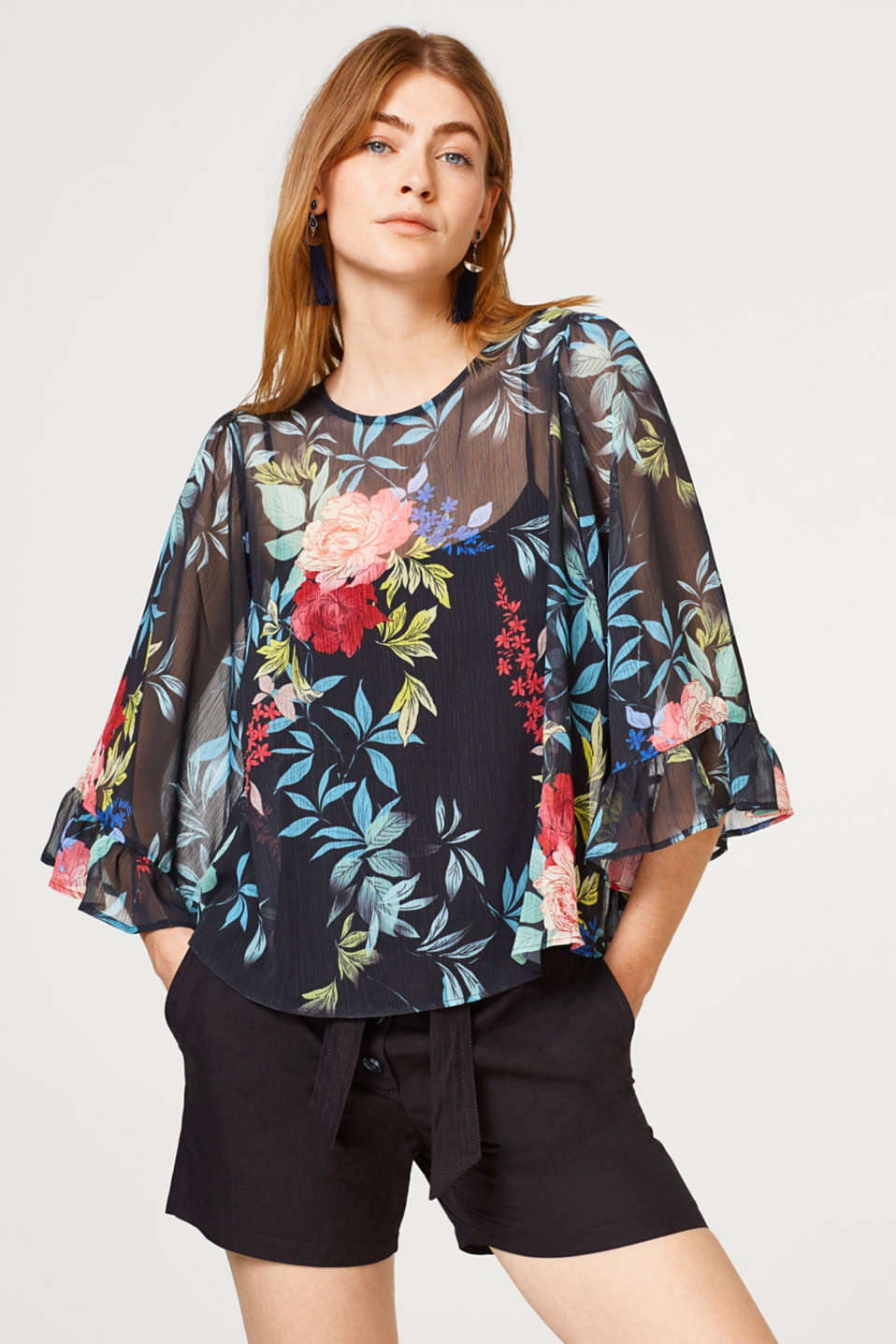 edc - Floral chiffon blouse with wide flounce sleeves