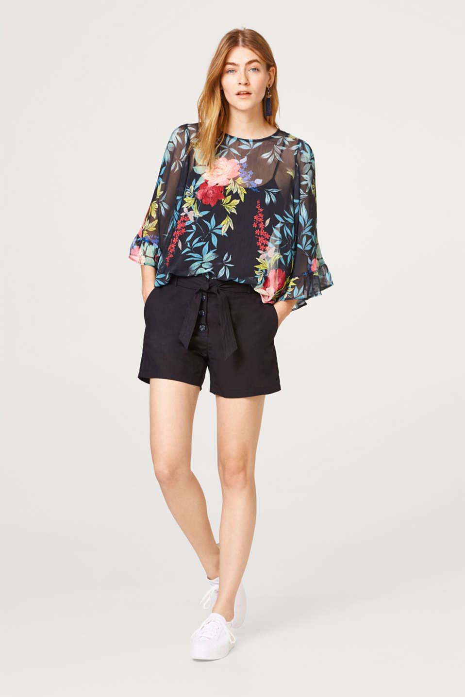 Floral chiffon blouse with wide flounce sleeves