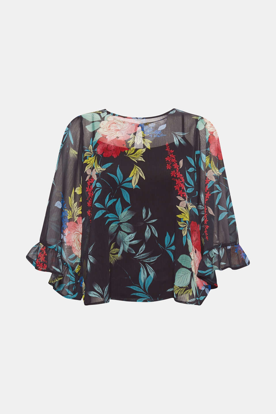 This chiffon blouse featuring a romantic floral print, airy flounce sleeves and an opaque inner top epitomises Boho Chic at its finest.